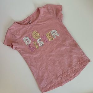 Carters Big Sister T shirt 2T pink sequins